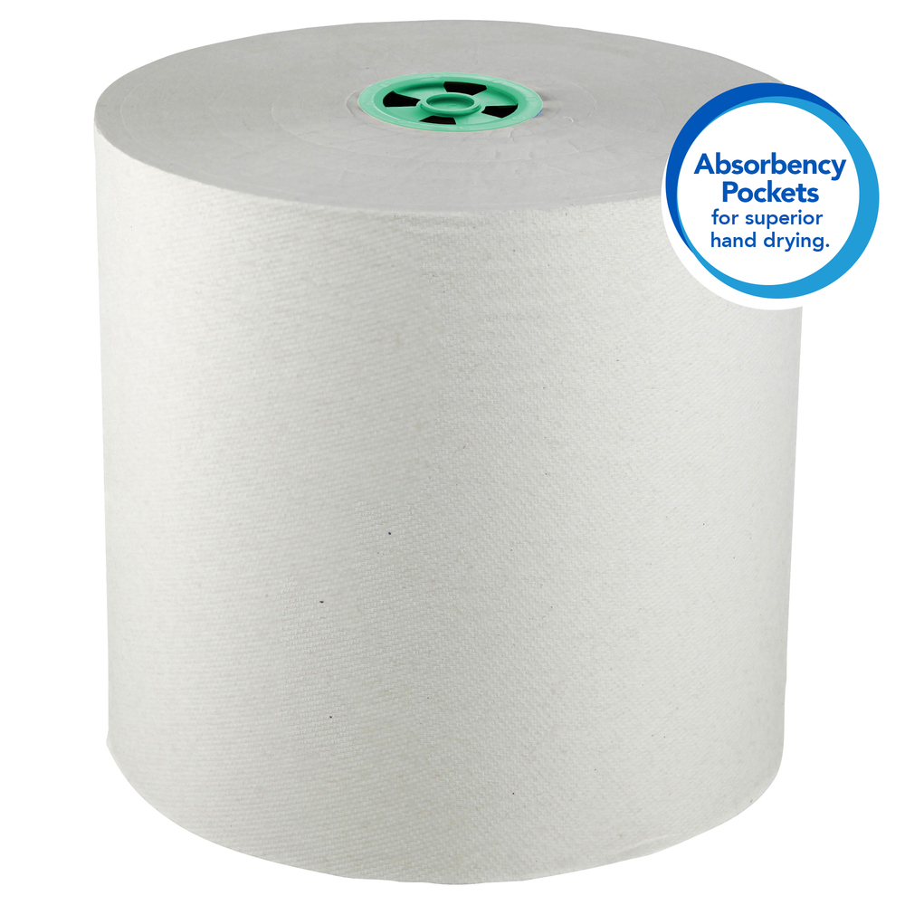 Scott Pro Hard Roll Paper Towels (43961), with Absorbency Pockets, for Scott Pro Dispenser (Green Core only), 900' / Roll, 6 White Rolls / Case, 5,400 feet - now 12.5% longer, formerly 800' - 43961