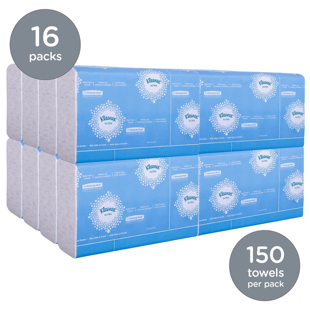 "Kleenex® Reveal Multi-Fold Hand Towels (46321), 8"" x 9.4"", For Kleenex® Reveal Countertop System Dispenser, White, 2,400 Towels / Case, 16 Packs of 150 Paper Towels - 46321"