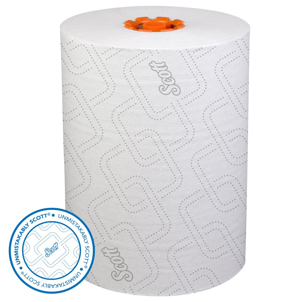Scott Control Slimroll Hard Roll Paper Towels (47035) for Slimroll Dispensers (Orange Core), Fast-Drying Absorbency Pockets, White, 6 Rolls / Case, 580' / Roll, 3,480' / Case - 47035
