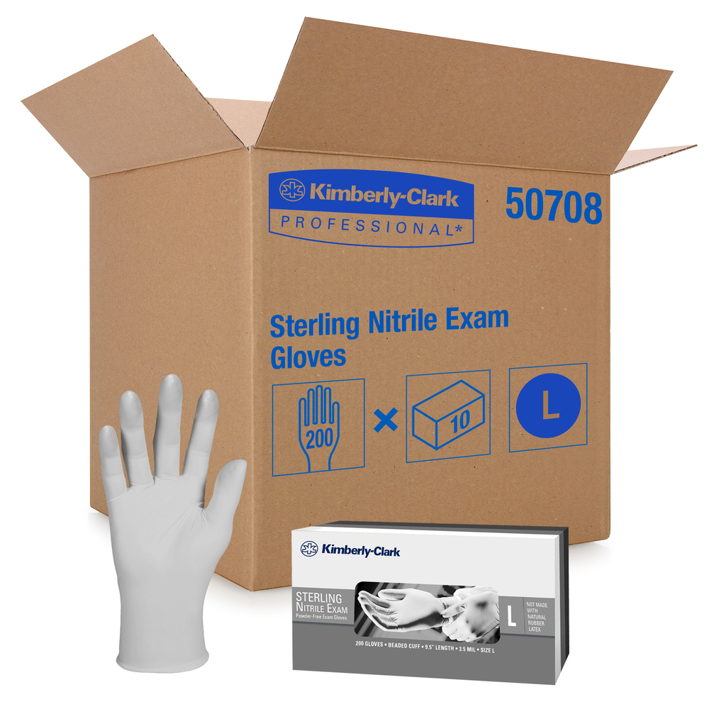 "Kimberly-Clark™ Sterling™ Nitrile Exam Gloves (50708), 3.5 Mil, 9.5"", Ambidextrous, Large, 200 / Dispenser, 10 Dispensers, 2,000 Grey Gloves / Case - 50708"