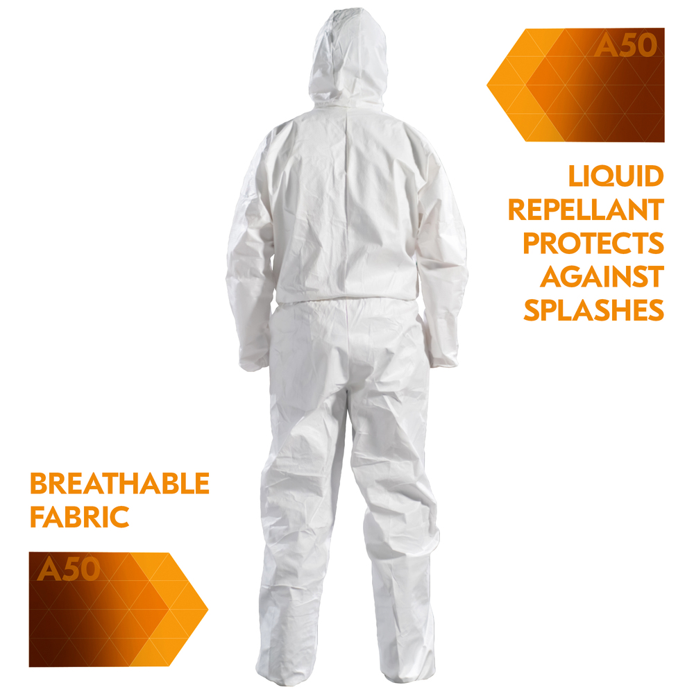 KLEENGUARD A50 Breathable Splash & Particle Protection Coveralls - Hooded / White / M - 51925