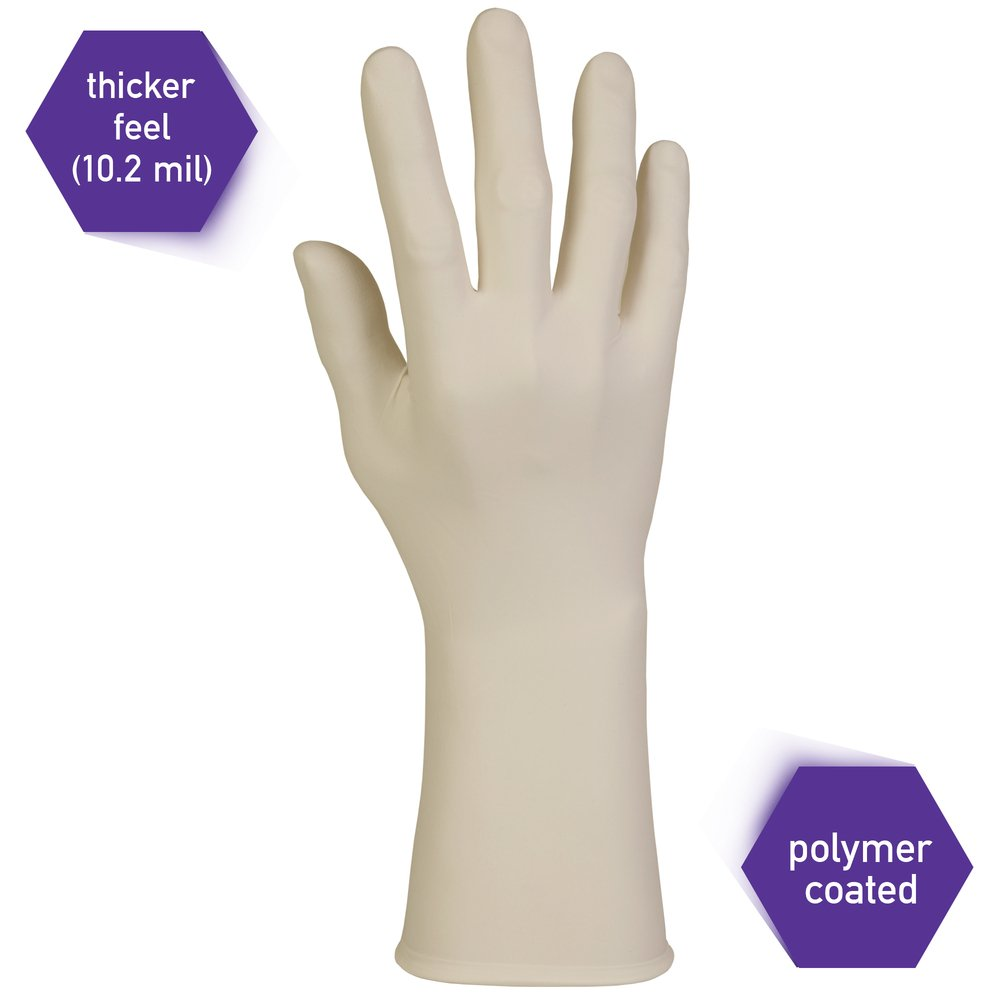 "Kimberly-Clark™  PFE-Xtra Latex Exam Gloves (50501), 10.2 Mil, Ambidextrous, 12"", Small, Natural Color, 50 / Box, 10 Boxes, 500 Gloves / Case - 50501"