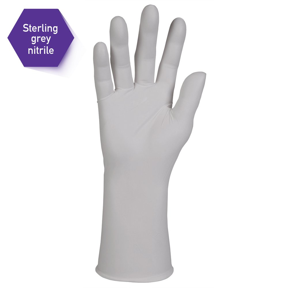 "Kimberly-Clark™  Sterling Nitrile-XTRA Exam Gloves (53138), 3.5 Mil, 12"", Ambidextrous, Small, 100 / Dispenser, 10 Dispensers, 1,000 Grey Gloves / Case - 53138"