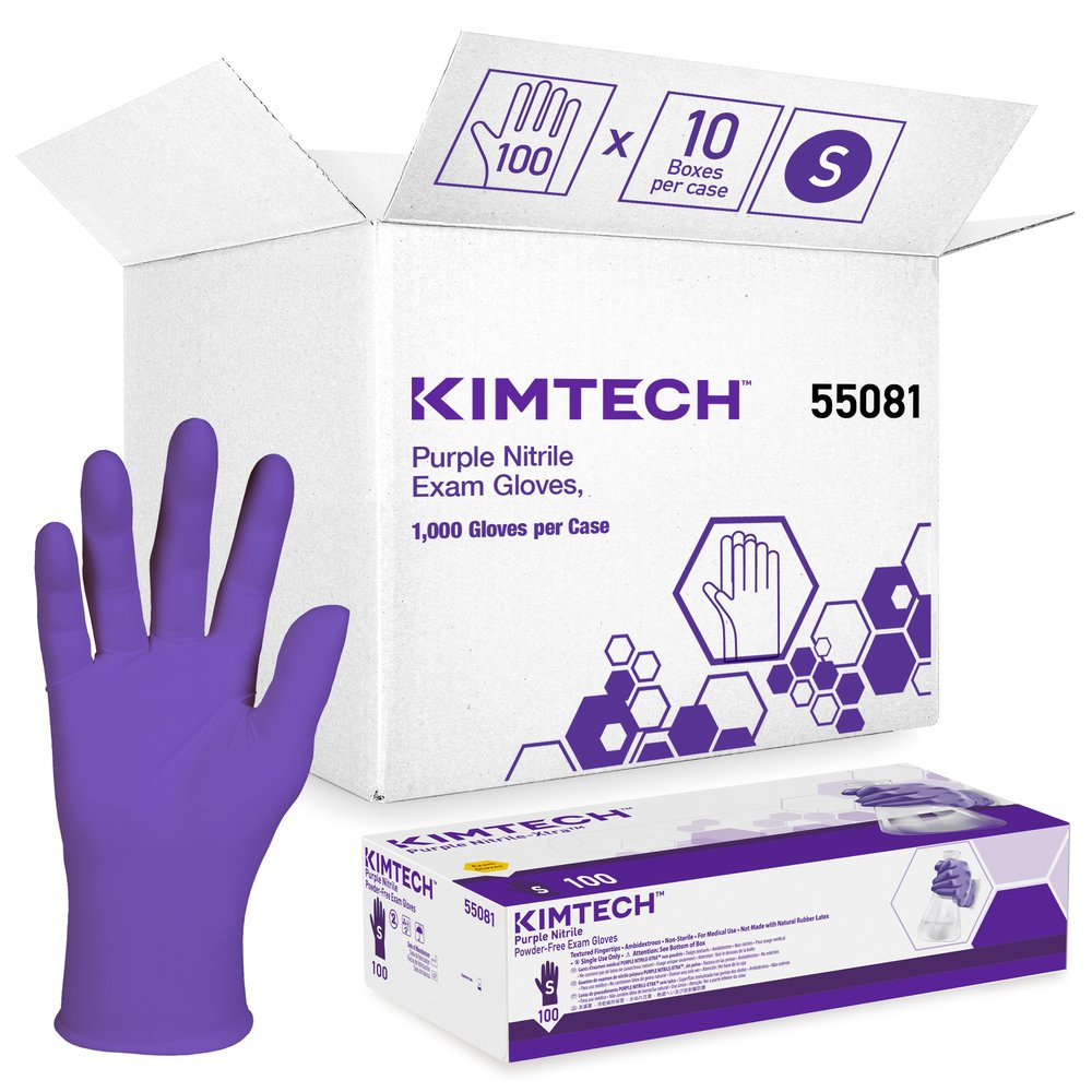 "Kimberly-Clark™ Purple Nitrile™ Exam Gloves (55081), 5.9 Mil, Ambidextrous, 9.5"", Small, 100 Nitrile Gloves / Box, 10 Boxes / Case, 1,000 / Case"