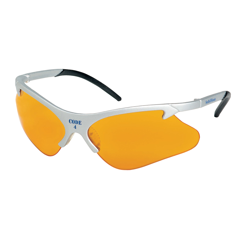 Smith & Wesson® Code 4 Safety Glasses (19835), Platinum Frame, Orange Lens, 12 Pairs / Case - 19835