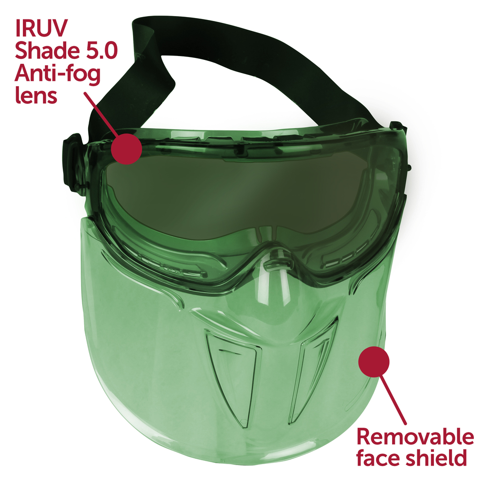 "KleenGuard™ V90 ""The Shield"" Safety Goggles with Face Shield (18633), IRUV Shade 5.0 Anti-Fog Lens with Black Frame, 6 Pairs / Package - 18633"