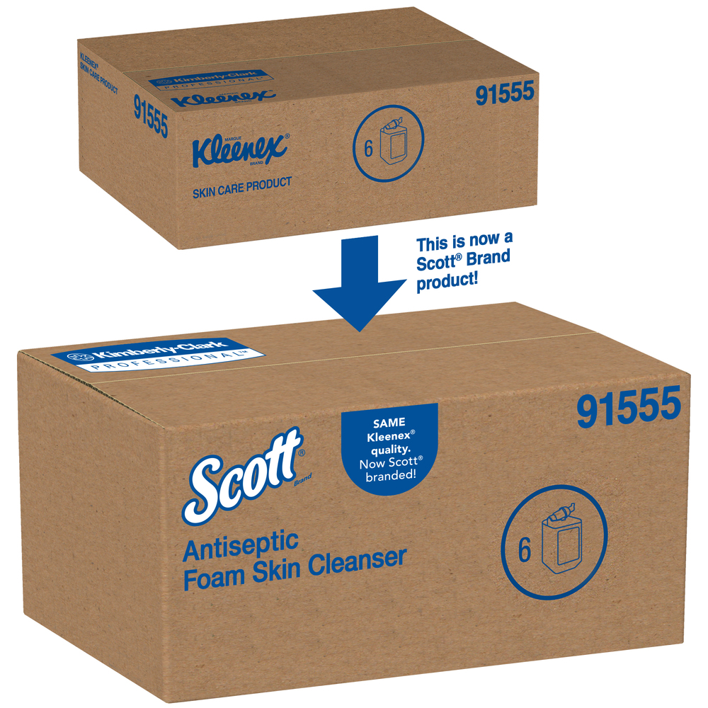 Scott® Control Anitseptic Foam Skin Cleanser, 1.75% PCMX, NSF E-2 Rated (91555), Clear, Unscented Soap, 1.0 L, 6 Packages / Case - 91555