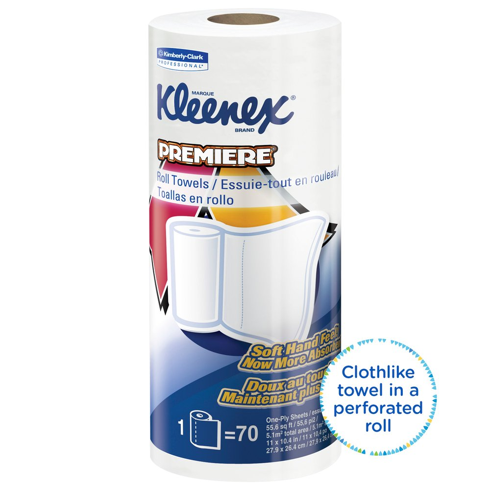 Kleenex® Towels Premier Kitchen Paper Towels (13964), Cloth-Like Softness, Perforated, 24 Rolls / Case, 70 Kleenex® Paper Towels / Roll - 13964