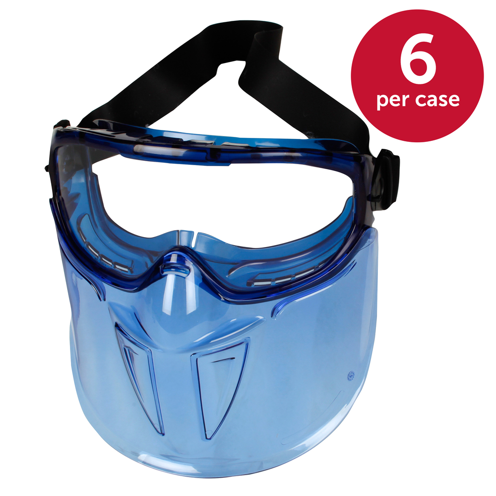 "KleenGuard™ V90 ""The Shield"" Safety Goggles with Face Shield (18629), Clear Anti-Fog Lens with Blue Frame, 6 Pairs / Package - 18629"