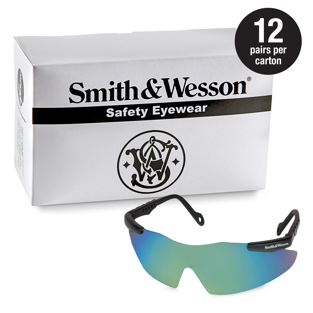 Smith & Wesson® Safety Glasses (19940), Magnum 3G Safety Eyewear, Green Mirror Lenses with Black Frame, 12 Units / Case - 19940