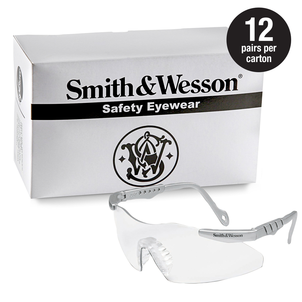 Smith & Wesson® Safety Glasses (19961), Magnum 3G Safety Eyewear, Clear Lenses with Platinum Frame, 12 Units / Case - 19961