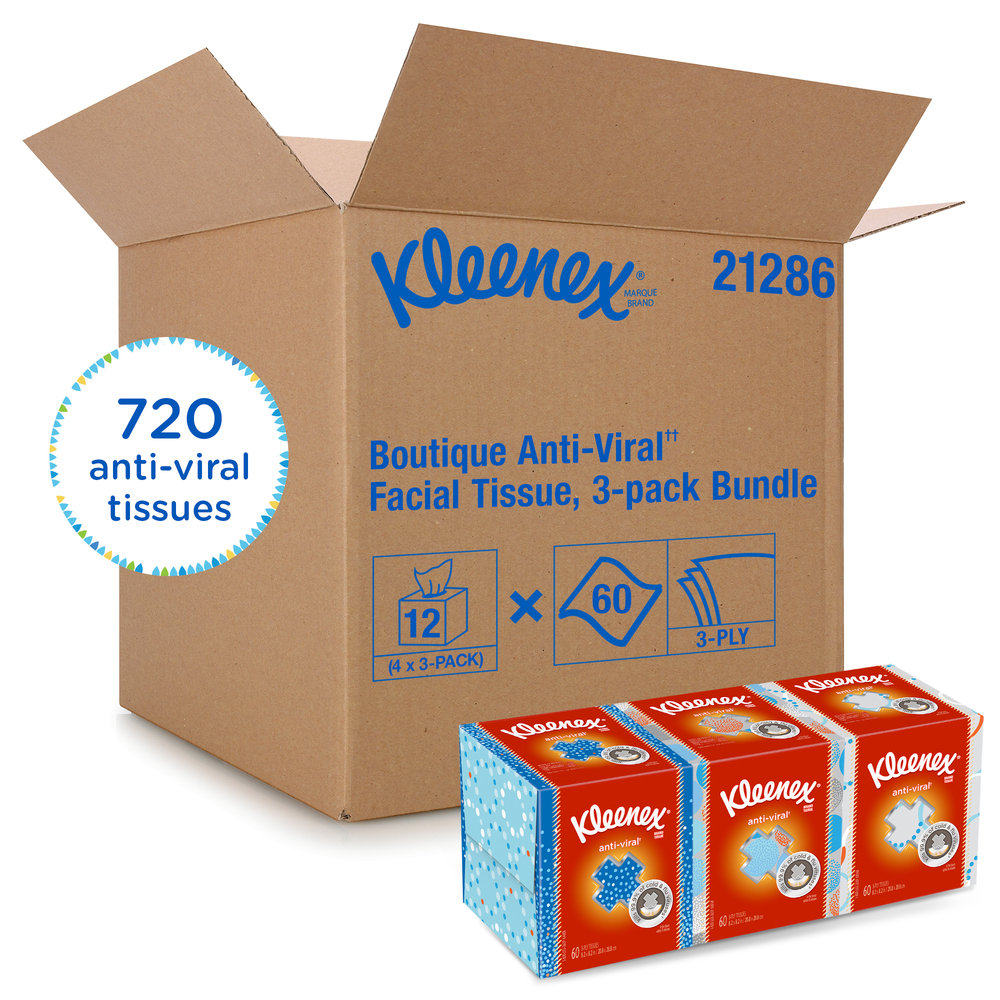 Kleenex® Professional Anti-Viral Facial Tissue Cube for Business (21286), White, 3 Boxes / Bundle, 4 Bundles / Case, 12 Boxes / Case - 21286