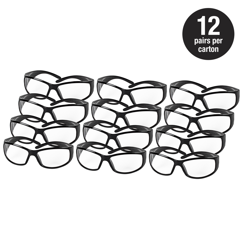 Smith & Wesson® Safety Glasses (21302), Elite Safety Glasses, Clear Anti-Fog Lenses with Black Frame, 12 Pairs / Case - 21302
