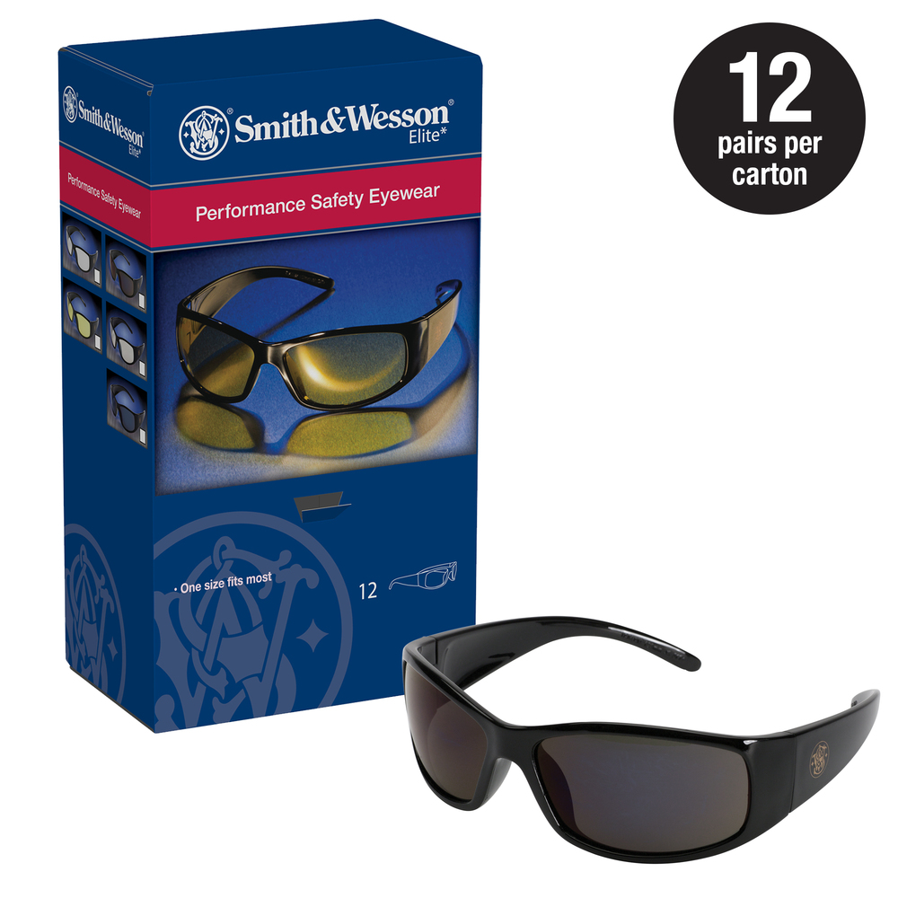 Smith & Wesson® Safety Glasses (21303), Elite Safety Sunglasses, Smoke Anti-Fog Lenses with Black Frame, 12 Pairs / Case - 21303