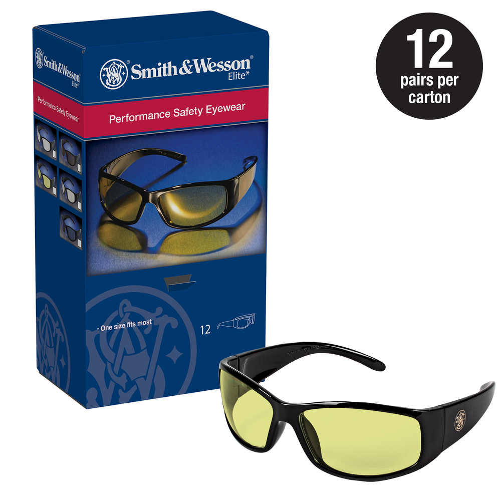Smith & Wesson® Safety Glasses (21305), Elite Safety Glasses, Amber Anti-Fog Lenses with Black Frame, 12 Pairs / Case - 21305