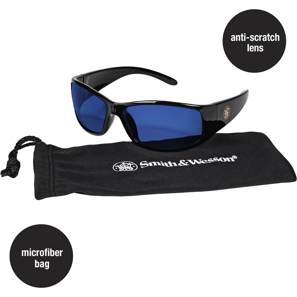 Smith & Wesson® Safety Glasses (21307), Elite Safety Sunglasses, Blue Mirror Lenses with Black Frame, 12 Pairs / Case - 21307