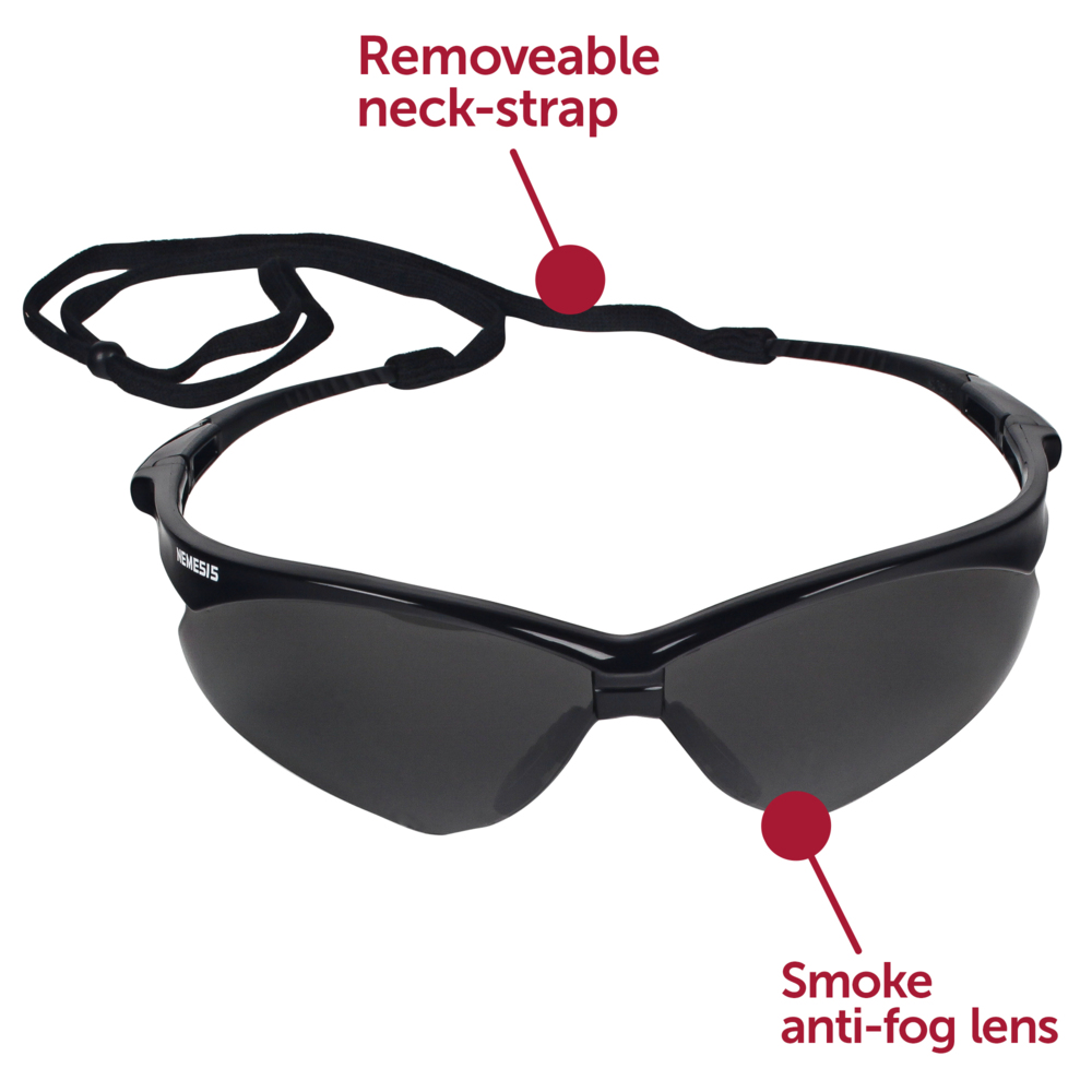 KleenGuard™ V30 Nemesis Safety Glasses (22475), Smoke Anti-Fog Lens with Black Frame, 12 Pairs / Case - 22475
