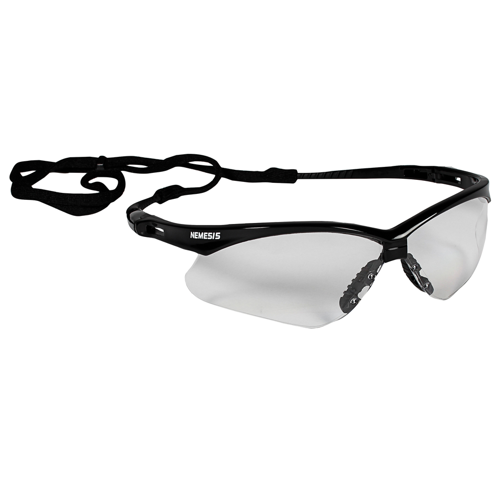 KleenGuard™ V30 Nemesis Safety Glasses (25676), Clear with Black Frame, 12 Pairs / Case - 25676