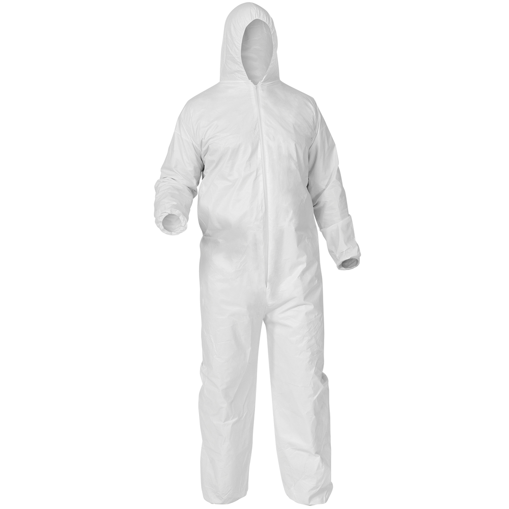 KleenGuard™ A35 Disposable Coveralls (38938), Liquid and Particle Protection, Hooded, White, Large, 25 Garments / Case - 38938