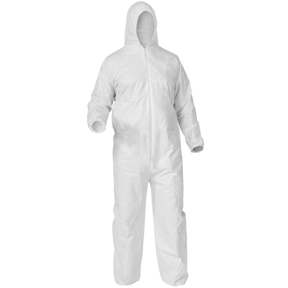 KleenGuard™ A35 Disposable Coveralls (38943), Liquid and Particle Protection, Hooded, White, 4X-Large (4XL), 25 Garments / Case - 38943