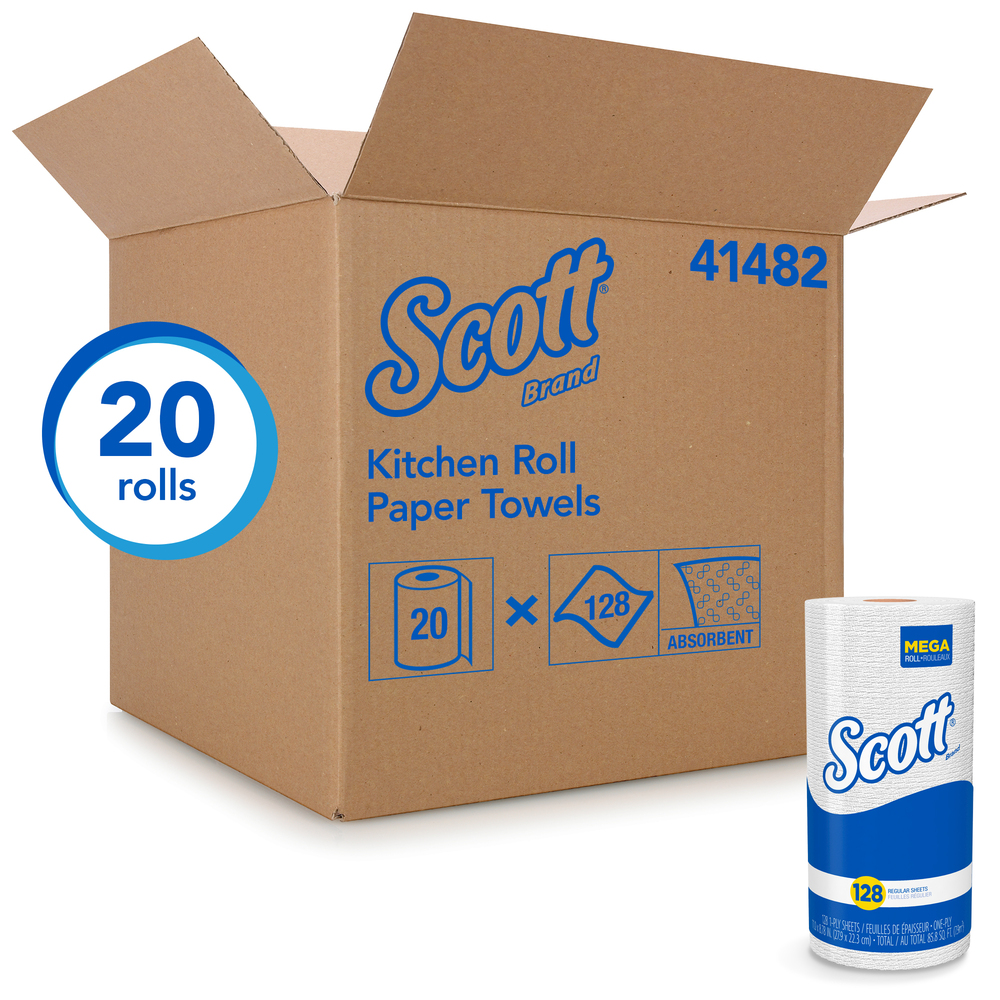 Scott® Kitchen Paper Towels (41482) with Fast-Drying Absorbency Pockets, Perforated Standard Paper Towel Rolls, 128 Sheets / Roll, 20 Rolls / Case - 41482