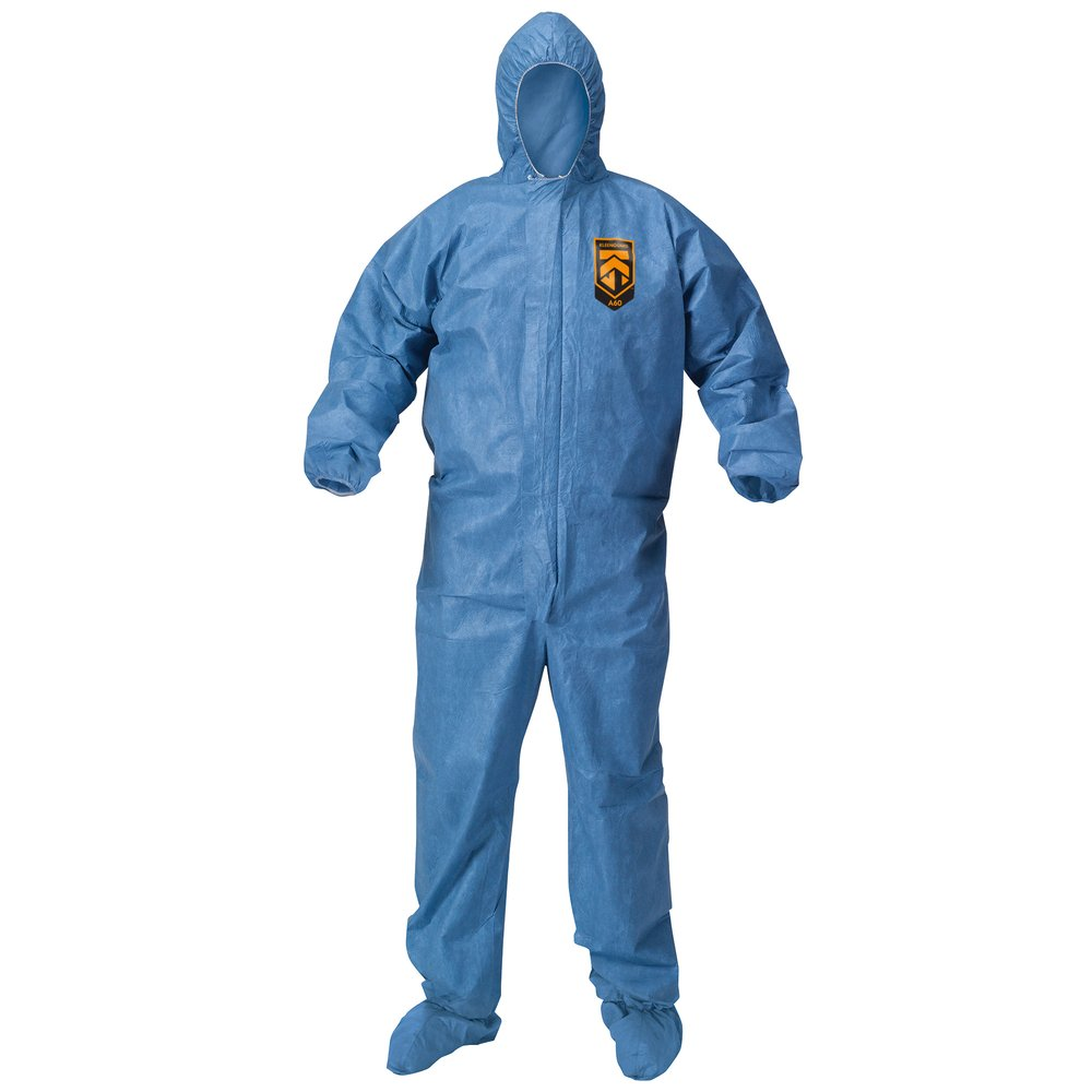 KleenGuard™ Chemical Resistant Suit, A60 Bloodborne Pathogen & Chemical Splash Protection Coveralls (45092), with Hood, Size Medium, Blue, 24 Garments / Case - 45092