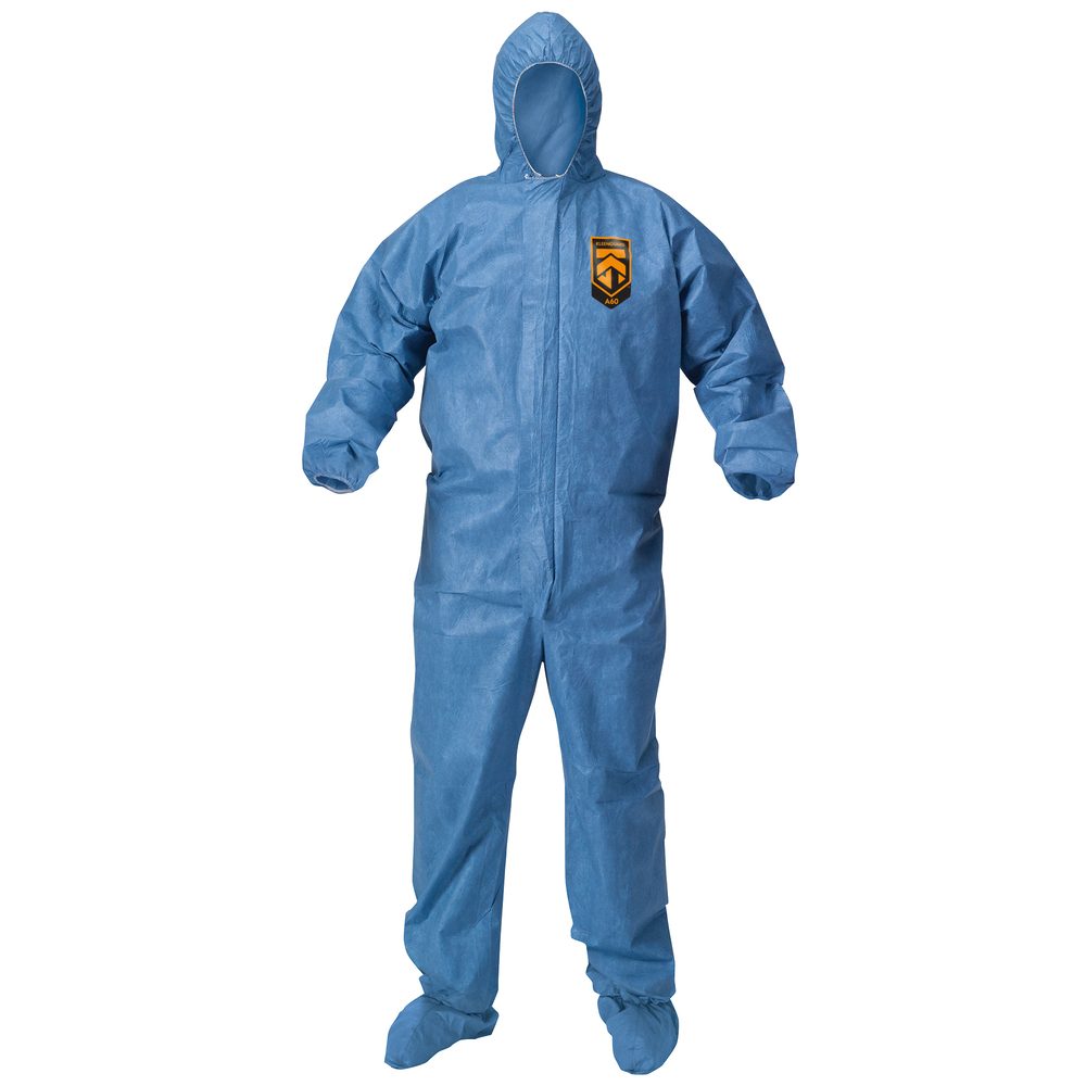 KleenGuard™ Chemical Resistant Suit, A60 Bloodborne Pathogen & Chemical Splash Protection Coveralls (45097), with Hood, Size 4X Extra Large (4XL), Blue, 20 Garments / Case - 45097