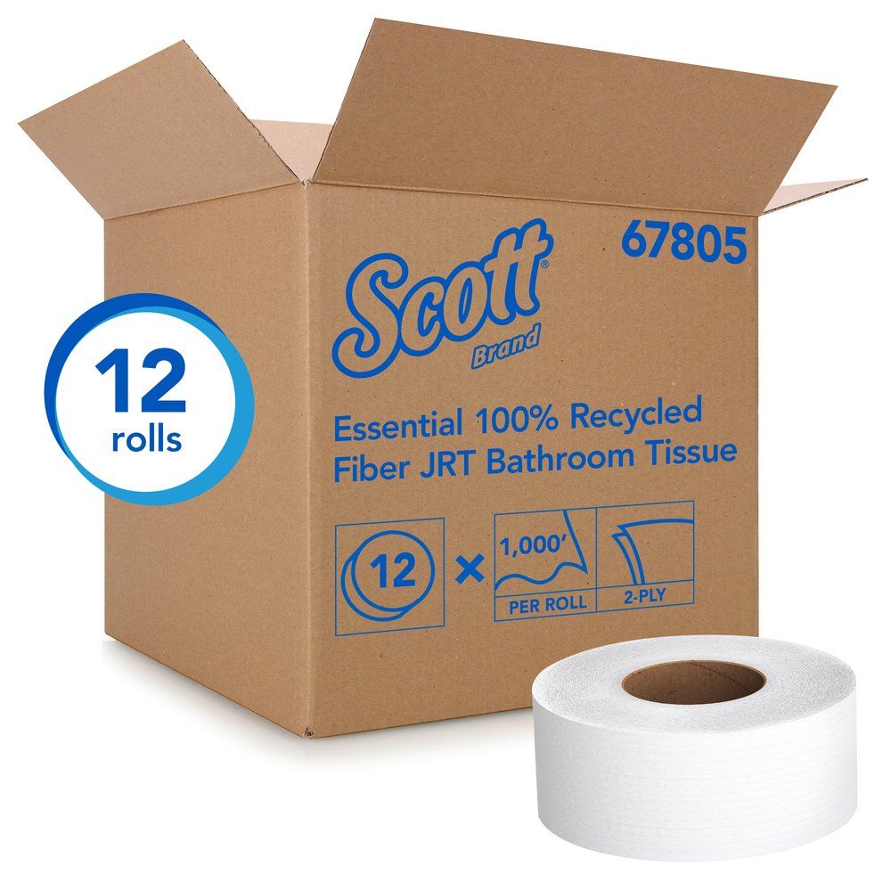 Scott® Essential 100% Recycled Fiber Jumbo Roll Bathroom Tissue