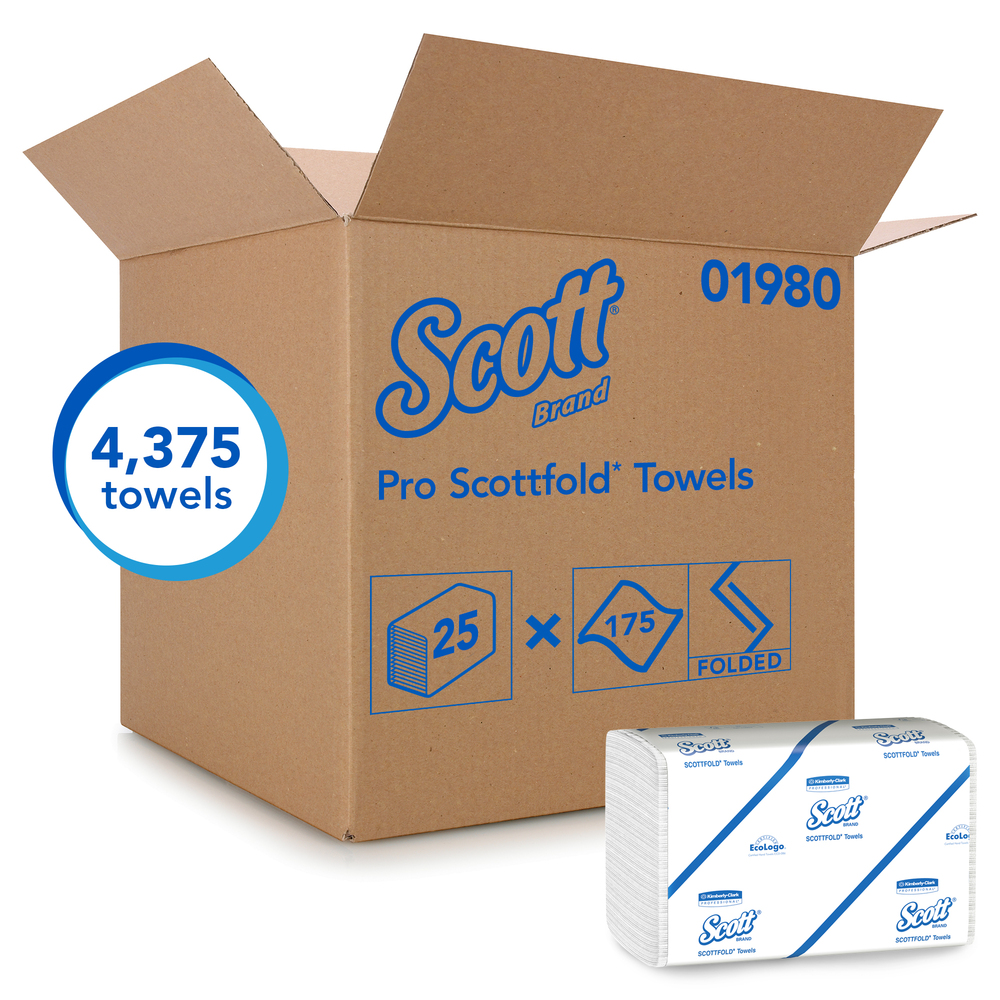 Scott® Pro Scottfold Multifold Paper Towels (01980) with Fast-Drying Absorbency Pockets, White, 25 Packs / Case, 175 Trifold Towels / Pack, 4,375 Towels / Case - 01980