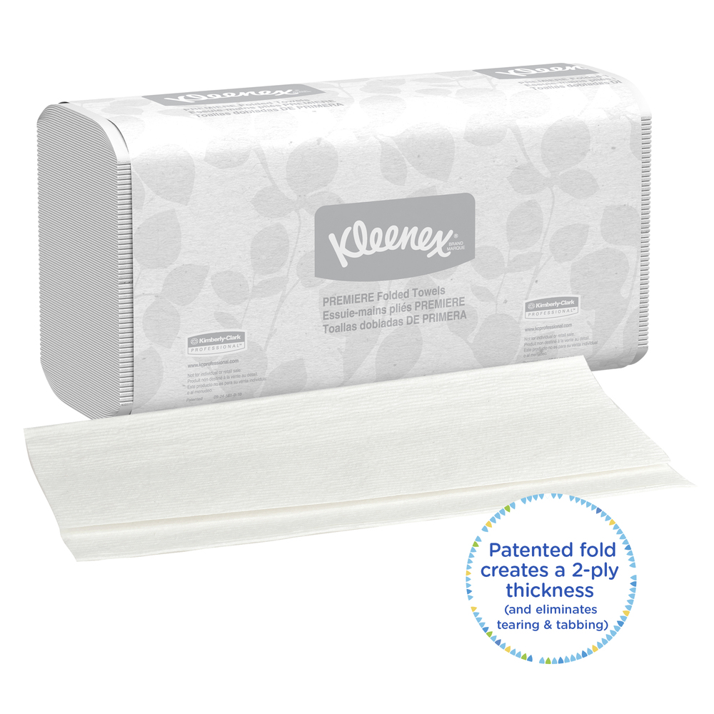 Kleenex® Scottfold Multifold Paper Towels (13254) with Fast-Drying Absorbency Pockets, White, 25 Packs / Case, 120 Trifold Towels / Pack, 3,000 Towels / Case - 13254