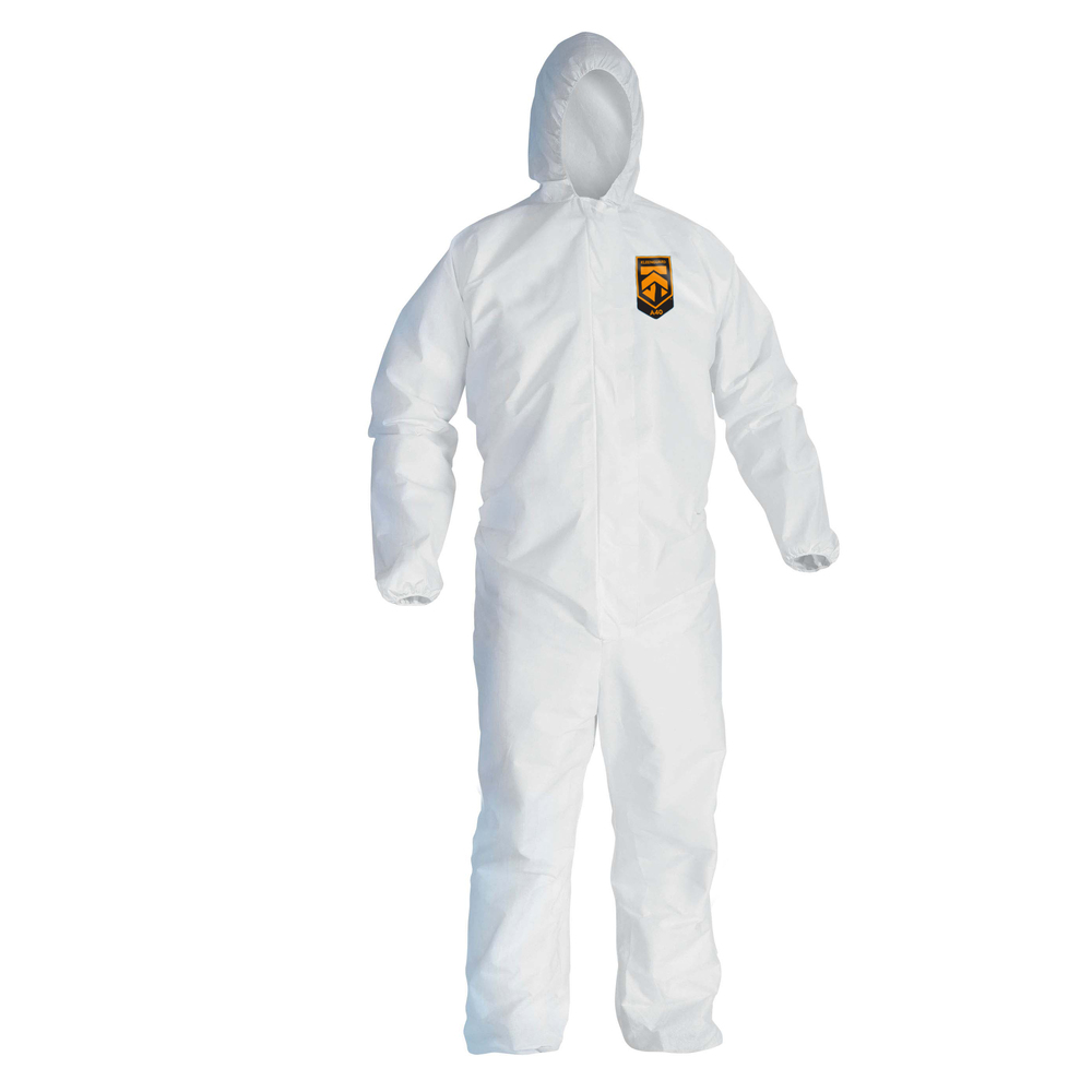 KleenGuard™ A45 Liquid & Particle Surface Prep & Paint Protection Coveralls (41505), Hooded, Reflex Design, Zipper Front, White, Large, 25 / Case - 41505