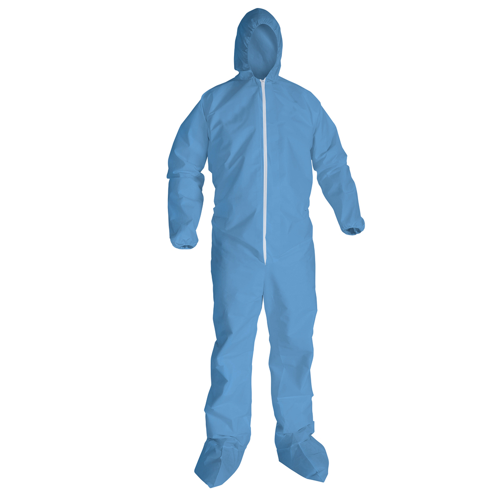 KleenGuard™ A65 Flame Resistant Coveralls with Hood & Boots (45353), Zip Front, Elastic Wrists & Ankles (EWA), Blue, Large, 25 Garments / Case - 45353