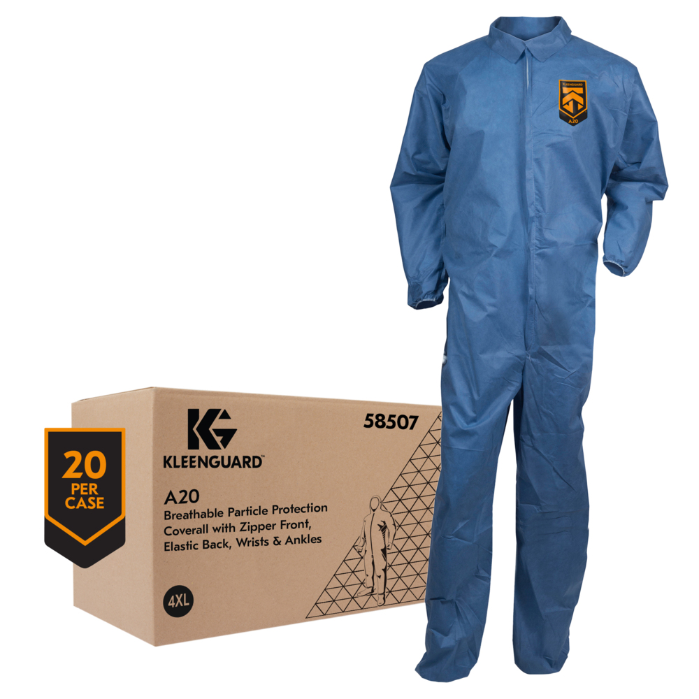 KleenGuard™ A20 Breathable Particle Protection Coveralls (58507), REFLEX Design, Zip Front, Elastic Back, Wrists & Ankles, Blue Denim, 4XL, 20 / Case - 58507