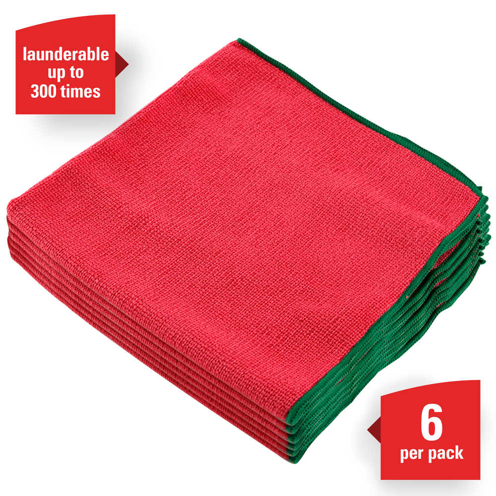 "WypAll® Microfiber Cloths (83980), Reusable, 15.75"" x 15.75"", Red, 4 Packs / Case, 6 Wipes / Container, 24 / Case - 83980"